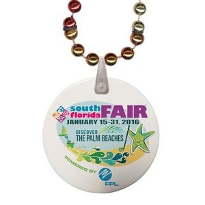 Rainbow Mardi Gras Beads with Imprint on Disk