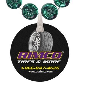 Racing Tire Shaped Mardi Gras Beads with UV Digital Imprint on Disk