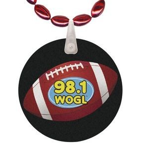 Mini Football Shaped Mardi Gras Beads with UV Digital Imprint on Disk