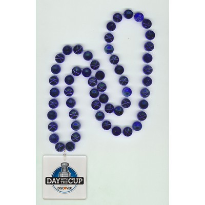 Hockey Puck Mardi Gras Beads with Square Light-Up Disk