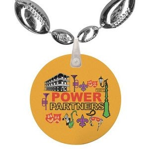 Football Shaped Combo Mardi Gras Beads with Imprint on Disk